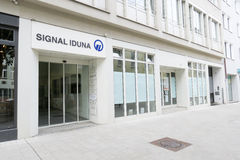 Signal Iduna Augsburg. Entrance to the offices of the german Signal Iduna insurance with copy space to the right Stock Photos