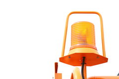 Signal lamp for warning flashing light on vehicle. Orange siren signal lamp for warning, flashing light on vehicle, industry detail Royalty Free Stock Photo