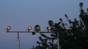 Signal light for planes at evening airport stock video footage