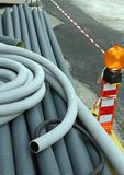 Signal light and plastic pipes for laying optical fiber Royalty Free Stock Image