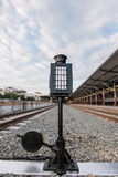 Signal light in railway station. Old lamp pole (signal light) in railway station Royalty Free Stock Photo