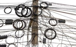 Signal line cables tangled on pole royalty free stock image