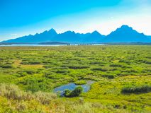 Signal Mountain Summit. Scenic landscape from Signal Mountain Summit at Grand Teton National Park in Wyoming, United States. North America travel in summer royalty free stock photo