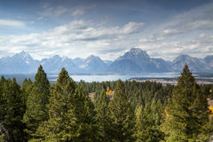 Signal Mountain. The view of Jackson Lake and the Teton range from the top of Signal Mountain royalty free stock image