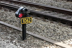 Signal next to railway track Royalty Free Stock Images