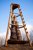 Signal observation tower. With barrels of gunpowder that ignited in case of danger Stock Photo