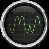 Signal with phase modulation (PM). On the oscilloscope screen in green tones, background Royalty Free Stock Photo