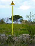 Signal presence methane pipeline. In the countryside of Puglia Stock Photography