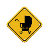 Signal preventive with black silhouette baby carriage Royalty Free Stock Images
