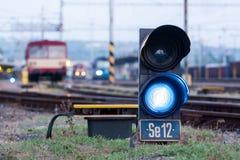 Signal. Railroad. Shunting traffic lights blue signal royalty free stock photo