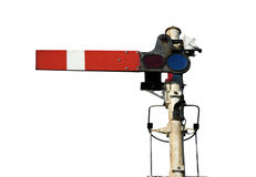 Signal. Railway train transport semaphore track signal in the halt or stop postion Stock Photos