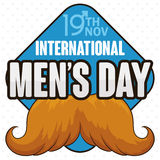 Signal with Reminder Date and Blond Mustache for Men`s Day, Vector Illustration. Poster with blond masculine mustache design in a signal with reminder date of Royalty Free Stock Images
