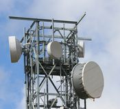 Signal repeaters televisions and mobile phone signal Royalty Free Stock Photography