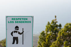 Signal respect the trails. Signal respect the trails, in Spanish Royalty Free Stock Image