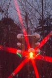 Signal rouge et vert de feu de signalisation en hiver Photos libres de droits