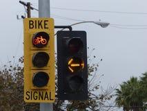 Signal rouge pour des vélos Images libres de droits