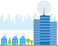 Signal sans fil d'Internet dans des maisons Photos libres de droits