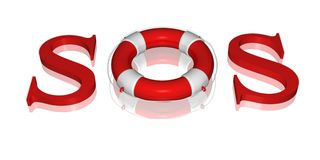 Signal SOS text by life buoy Royalty Free Stock Photography