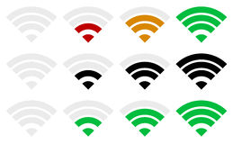 Signal strength indicator template. Wi-fi, wireless connection,. Vector illustration of simple signal strength indicatosr. Wi-fi, wireless connection, antenna Royalty Free Stock Photo