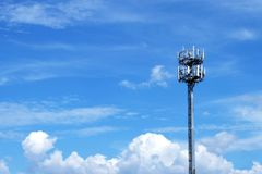 Signal Tower with Blue sky. Background Stock Images