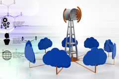 Signal tower with cloud stock illustration