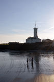 Signal Tower in evening sun, Arbroath, Scotland. ARBROATH, SCOTLAND - 27 MARCH 2017: Evening sun falls on the former Signal Tower for the Bell Roclk lighthouse Royalty Free Stock Photography