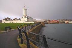 Signal Tower Museum, Arbroath, Scotland. Arbroath Signal Tower Museum and Rocky Coastline Royalty Free Stock Photos