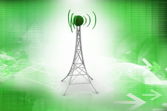 Signal tower with networking. In color background Stock Images