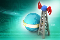 Signal tower with networking Stock Photo