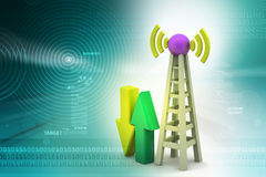Signal tower with networking Royalty Free Stock Images