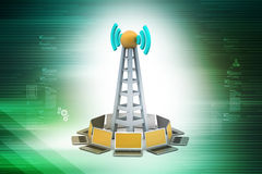 Signal tower with networking Royalty Free Stock Photo