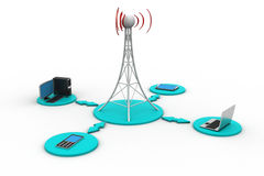 Signal tower with networking Stock Image