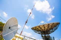 Signal Tower and satellite dish The sky is big and the clouds ar royalty free stock photo