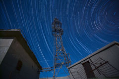Signal tower and star trace Royalty Free Stock Photography