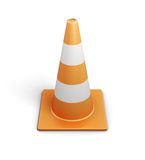 Signal traffic cone on white background. 3d rendering Royalty Free Stock Photos
