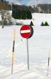 Signal transit ban on dangerous ski run Stock Images