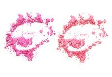 Signal två av skönhetsmedlet och makeuppulver som isoleras på vit bakgrund Royaltyfri Fotografi