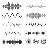 Signal wave set. Vector analog signals and digital sound waves forms. Amplitude audio wave illustration Royalty Free Stock Images
