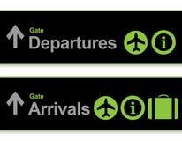 Signalankunft - Abflüge vom Flughafen Stockfotos