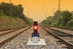 signalering för forntidlampjärnväg fotografering för bildbyråer