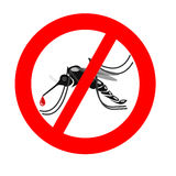 Signaling mosquitoes with mosquito warning prohibited sign for i Royalty Free Stock Image