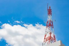 Signaling pole has a background sky and a clouds stock image