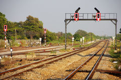 Signaling for rail. Light signaling for rail operation on railway junction in Thailand stock photography