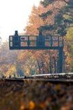 Signalisieren Sie an den Eisenbahn-Spuren im Fall-Portrait lizenzfreie stockfotos