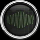 Signalisieren Sie mit Amplitudenmodulation auf dem Oszilloskopschirm in g Stockbilder