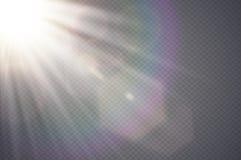 Signalljus för lins för genomskinligt solljus för vektor special Design för ljus effekt för abstrakt diagonal sol genomskinlig ge Arkivfoto