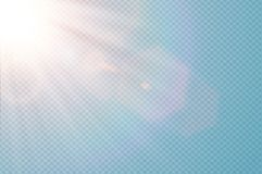 Signalljus för lins för genomskinligt solljus för vektor special Design för ljus effekt för abstrakt diagonal sol genomskinlig Is Arkivbilder
