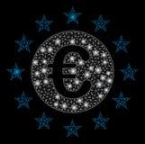 Signalljus Mesh Carcass Euro Union Stars med signalljusfläckar vektor illustrationer