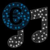 Signalljus Mesh Network Euro Music Notes med signalljusfläckar vektor illustrationer