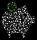 Signalljus Mesh Network Euro Piggy Bank med pråliga fläckar royaltyfri illustrationer